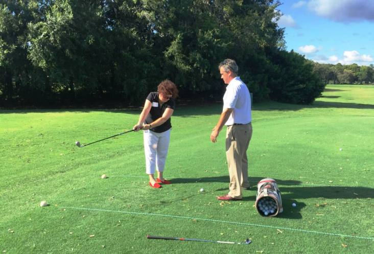 Bobby Barnes, Director of Golf at Innisbrook Resort, Teaches Me How to Swing During the Women's Golf Day Clinic, June 7, 2016.