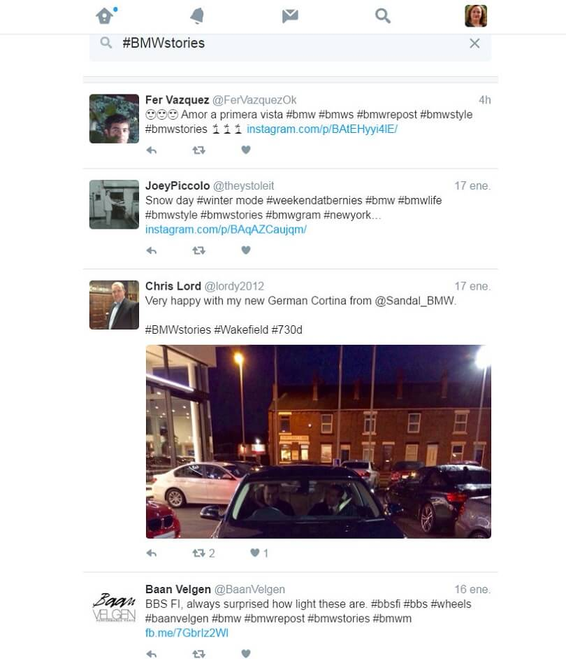Herramientas de Marketing hashtag #BMWstories