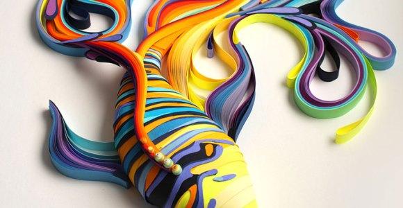Artista cria ilustrações e esculturas coloridíssimas usando apenas papel