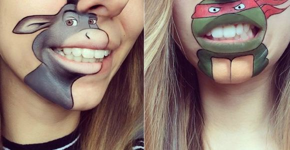 Maquiadora desenha personagens famosos ao redor de sua boca