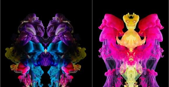 Tintas coloridas se dissolvendo na água dão origem a fotografias vislumbrantes