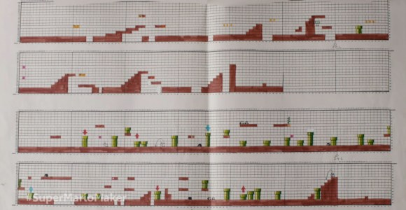 Veja como as fases de Super Mario foram criadas à mão, em papel quadriculado!