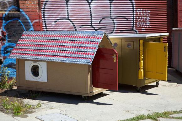 Casas de sucata para moradores de rua 13