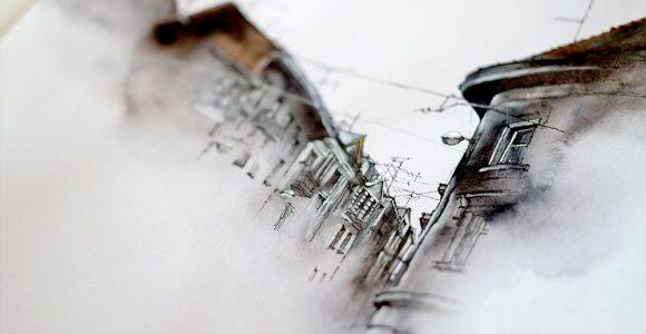 Essas obras arquitetônicas pintadas em aquarela parecem tiradas de um sonho