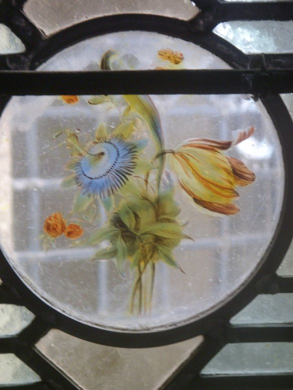 Gathered flowers. Delicate detail, stained glass window, St. Michael's Mount.