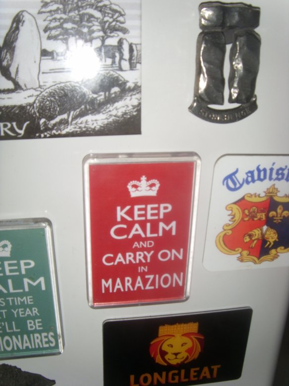 Spirit of the day. My 50p souvenir fridge magnet bought in one of the Marazion gift shops.  It aptly summed up the day; the people jam inside the castle and the traffic jam on the A30 on the way home - thanks boys.