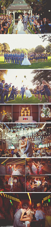 grey and yellow wedding reception