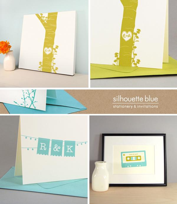 Silhouette Blue Wedding Invitations