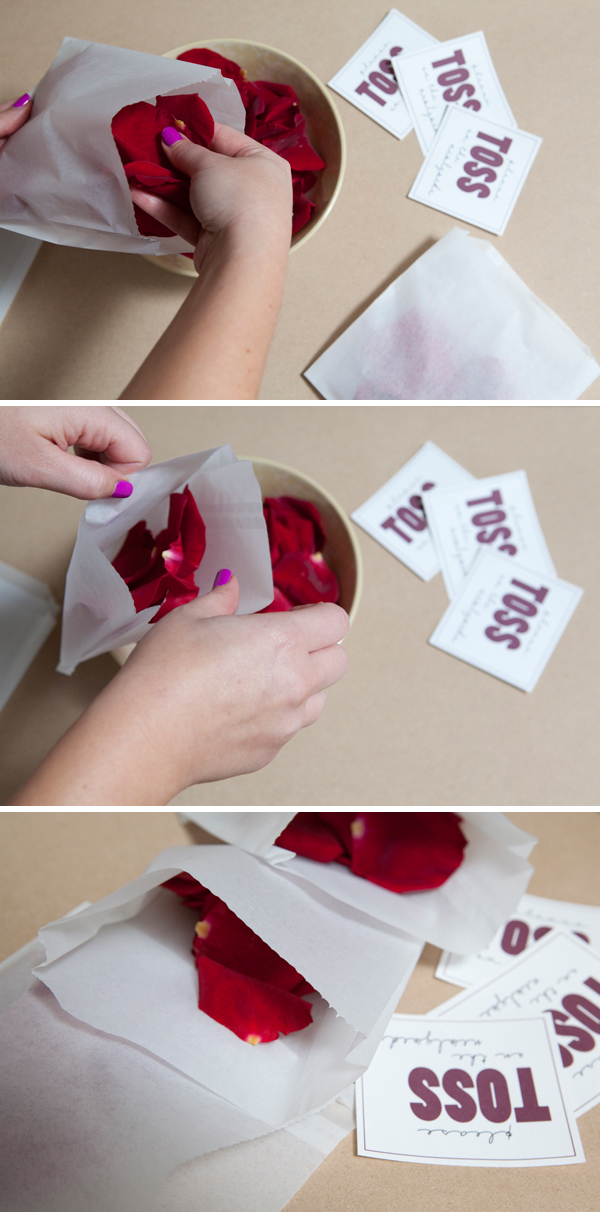 SomethingTurquoise.com DIY flower toss baggies for your ceremony