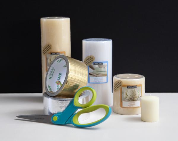 DIY metallic duck tape candles