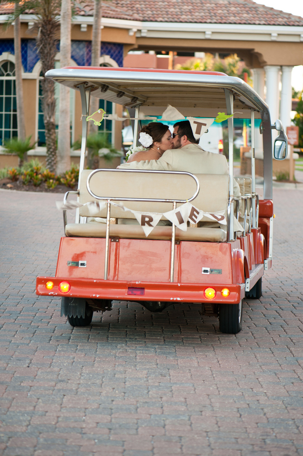 just married golf cart exit