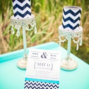 turquoise navy blue chevron wedding inspiration
