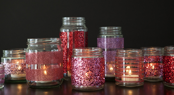 How to make diy glittered glass jars perfect candle holders for Crafts using glass jars