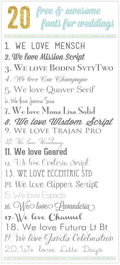 round-up   20 free & awesome wedding fonts - Something ...