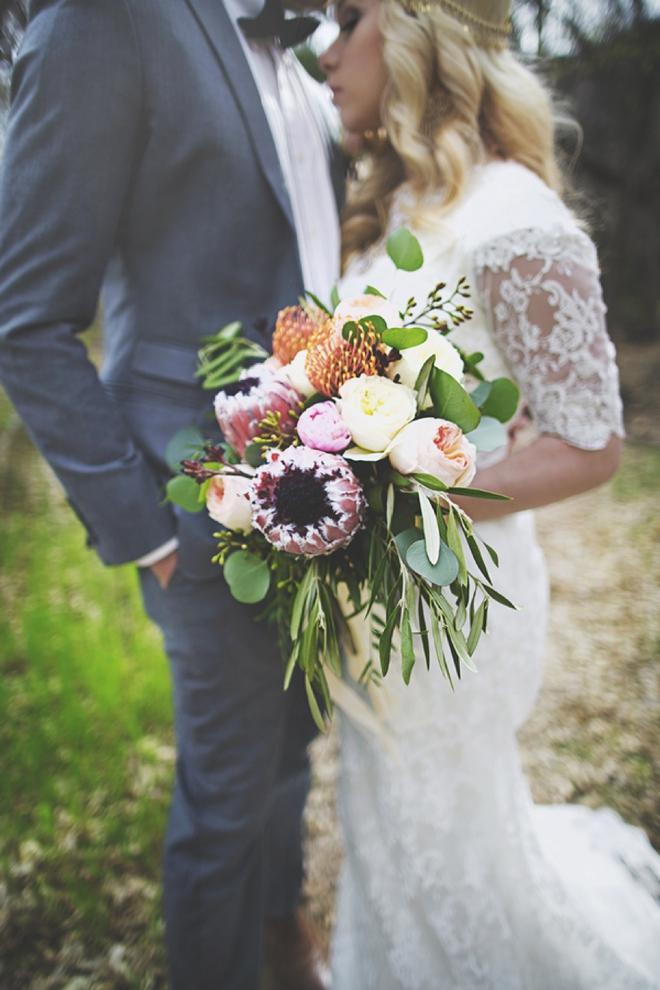 Gorgeous protea wedding bouquet