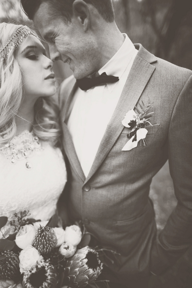 Gorgeous bride and groom portrait in black and white