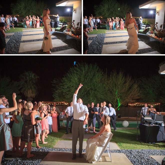 Bouquet and garter toss!
