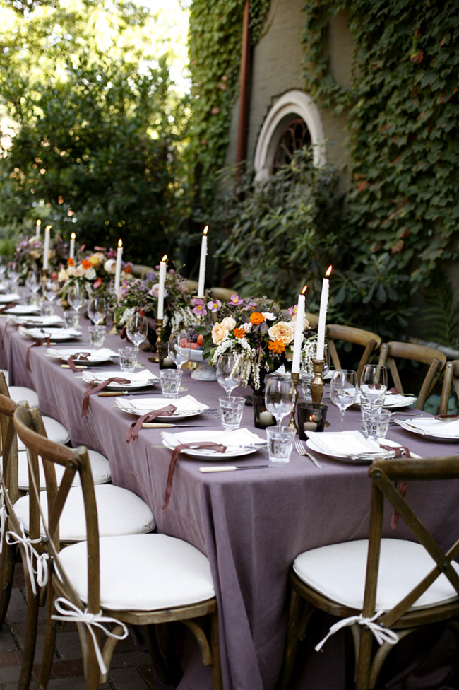 Purple and deep reds fall tablescape