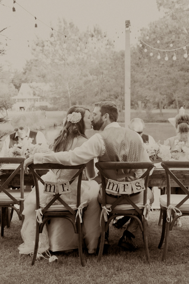 bride and groom in their reception chairs
