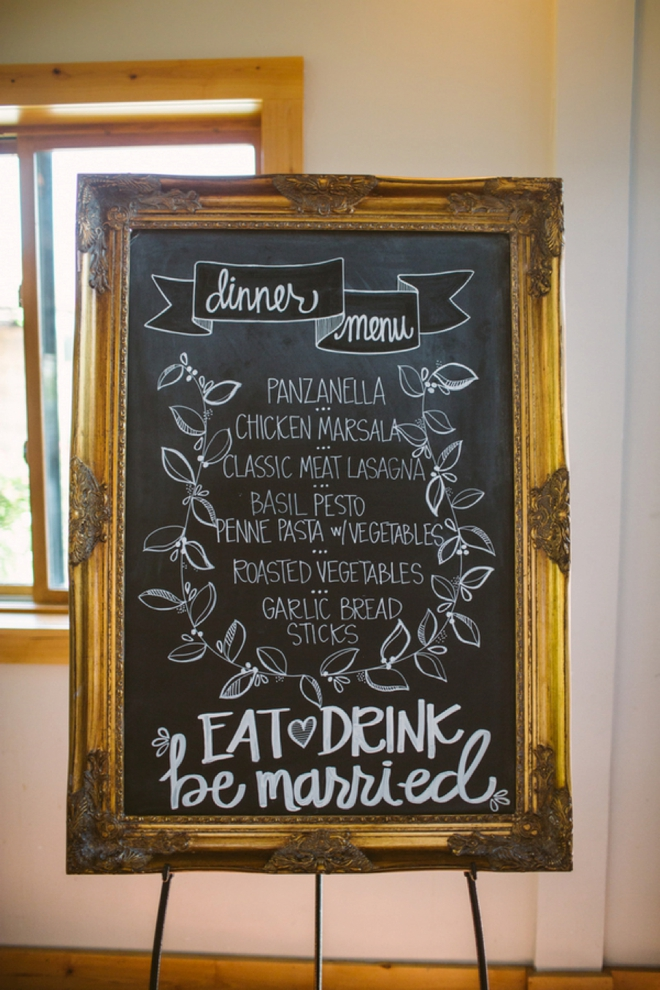 DIY wedding menu sign
