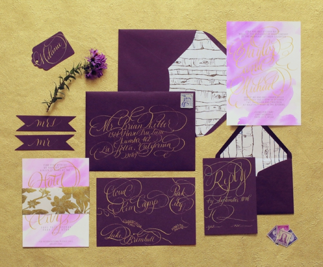 Gorgeous purple watercolor wedding invitation suite with hand lettering