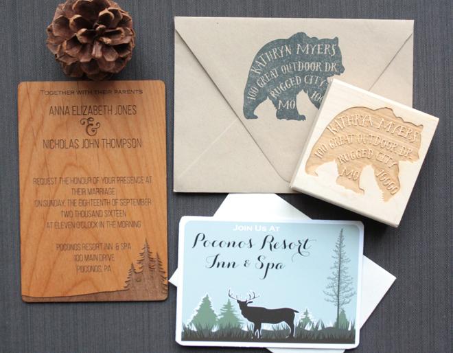 Custom, wooden wedding invitation