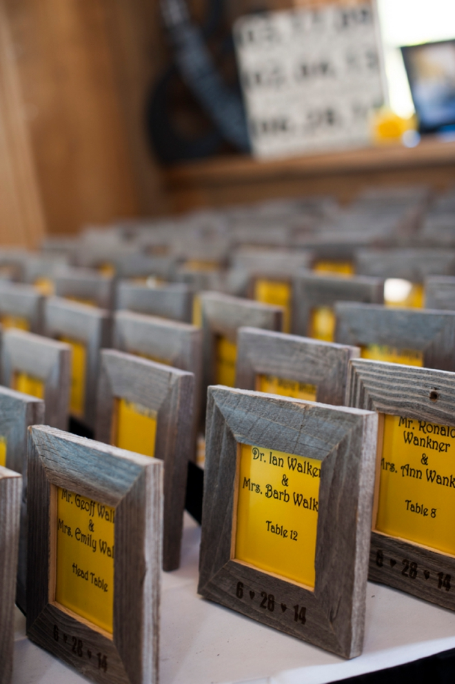 Wooden framed seating cards