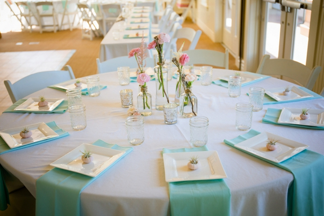 Lovely mint and pink wedding reception