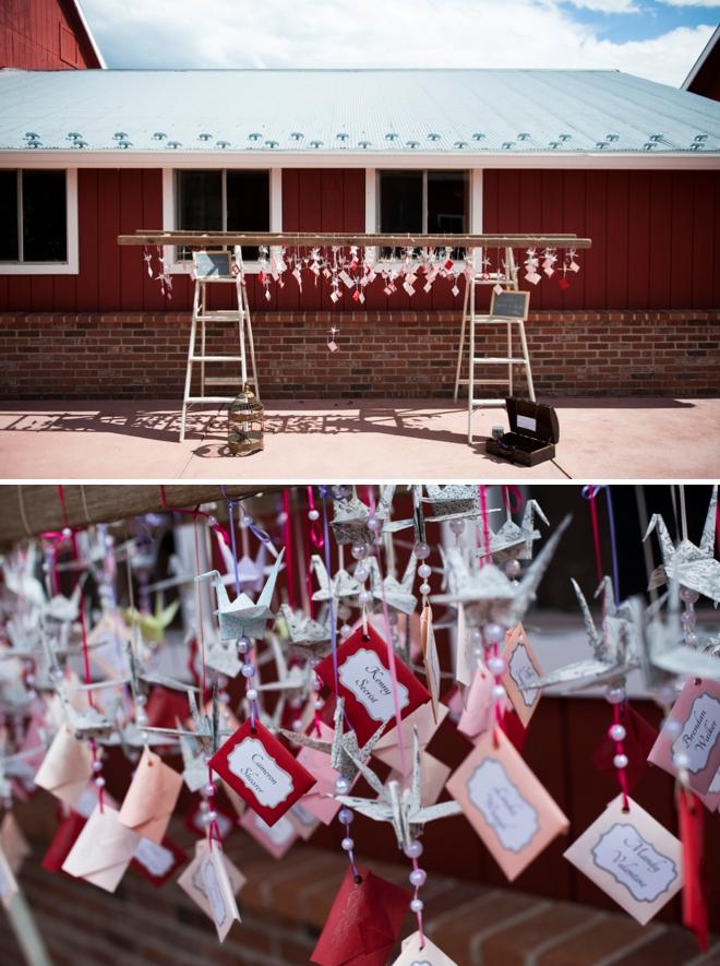 Paper crane seating cards