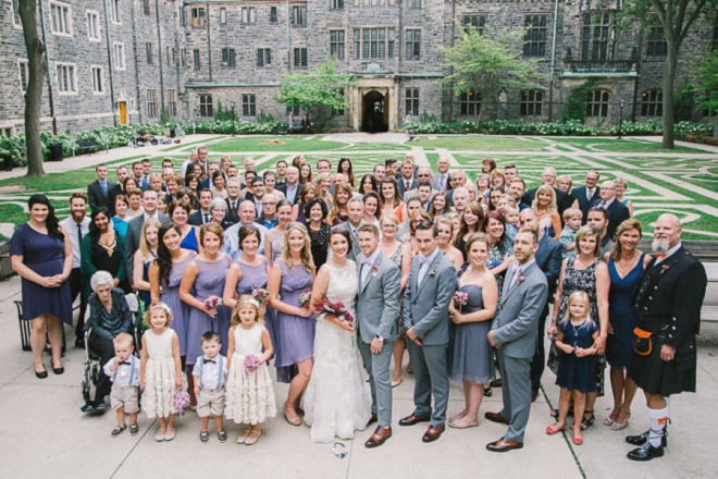 Portrait of entire wedding party and guests