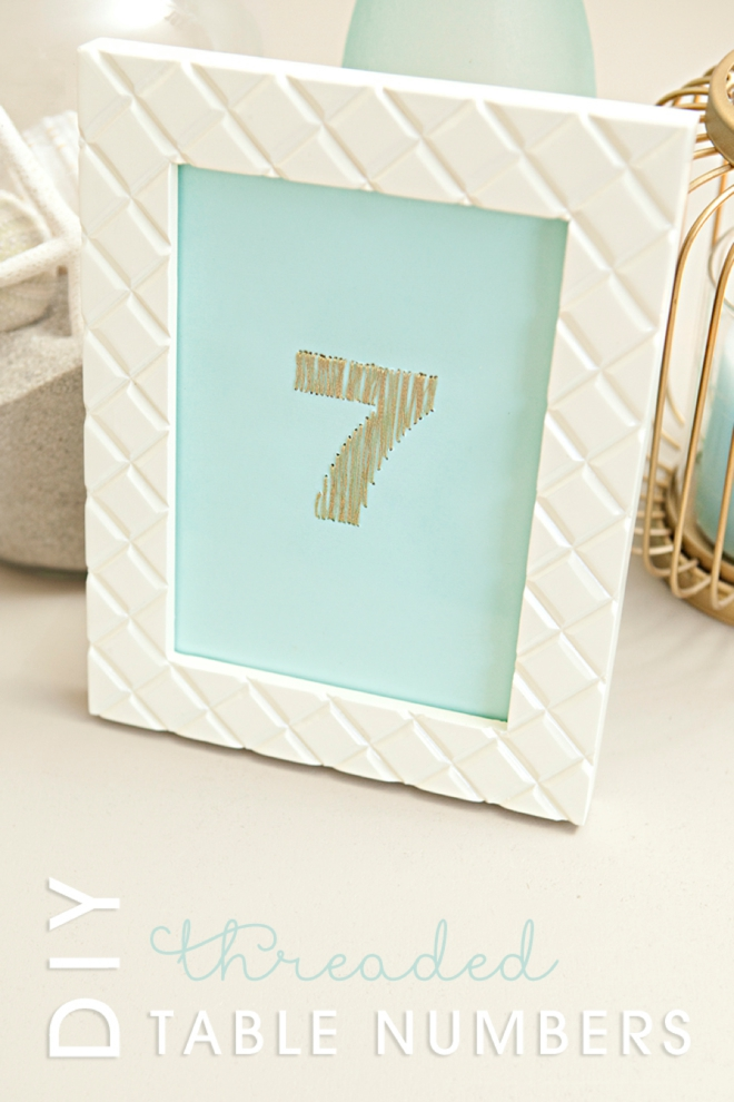 DIY gold metallic thread table numbers