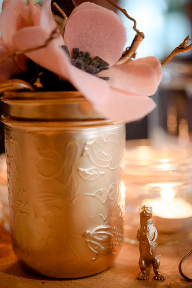 DIY Felt flowers and gold painted animal wedding decor