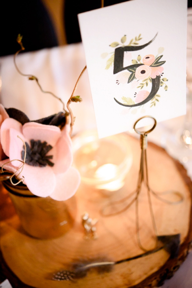 Rustic wedding tablescape with felt flowers