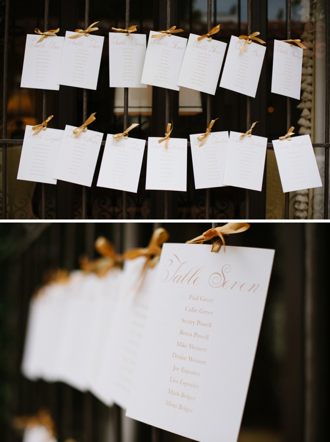 Awesome handmade wedding seating chart, cards + ribbons!
