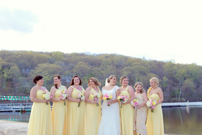 Bride and her yellow bridesmaids!