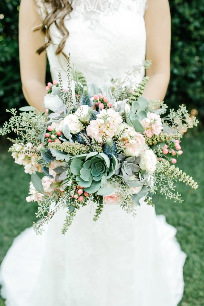 AMAZING green and blush wedding bouquet.