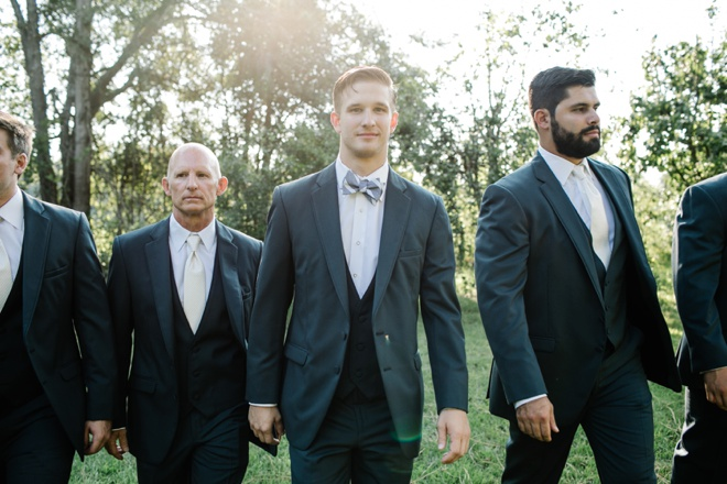 Handsome groom and his men in modern tuxes