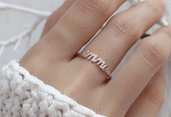 Want! Bridesmaid Personalized Stackable Ring