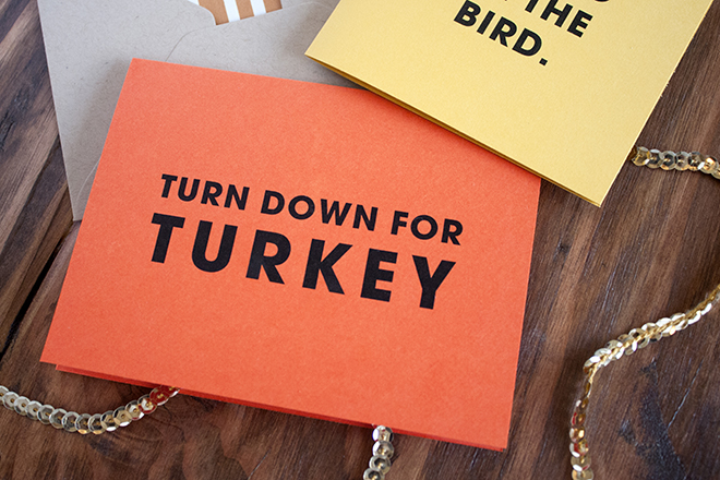 FREE printable Turn Down For Turkey card!