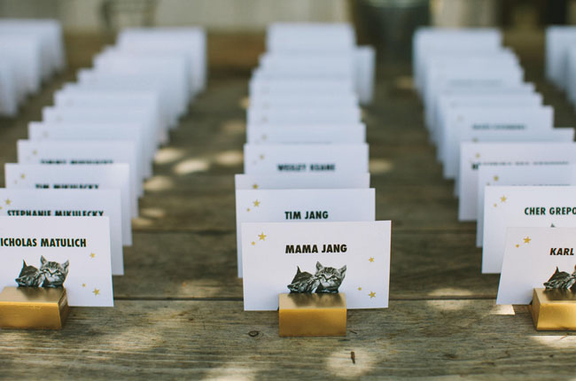Cat themed escort cards, meow!