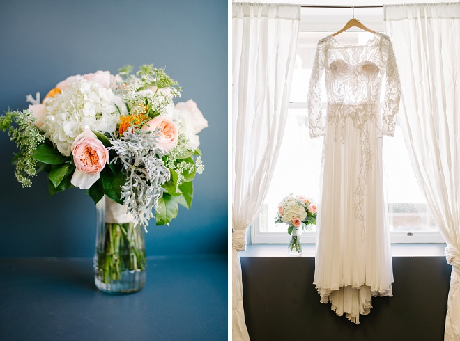 We LOVE this gorgeous garden rose bouquet and vintage wedding dress!