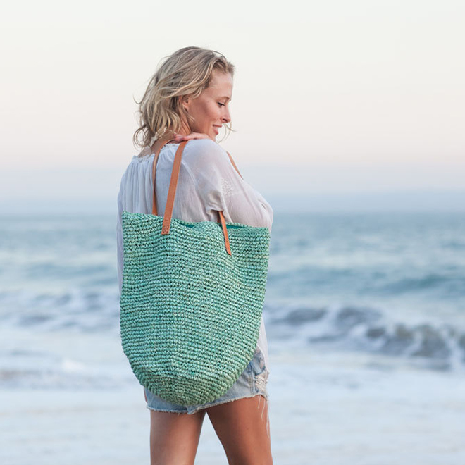 Handwoven Straw Beach Bag by Moos