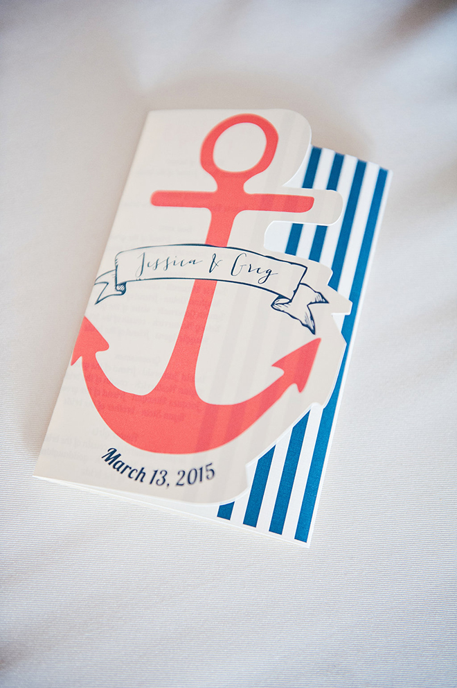 cutout and fold-out programs are perfect for a nautical themed wedding