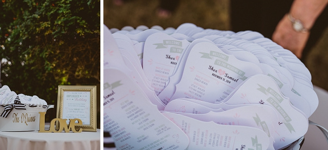 How darling are these DIY wedding programs the Bride made? Love!