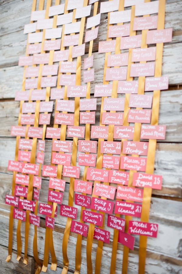 Swooning over these gorgeous pink ombre escort cards!