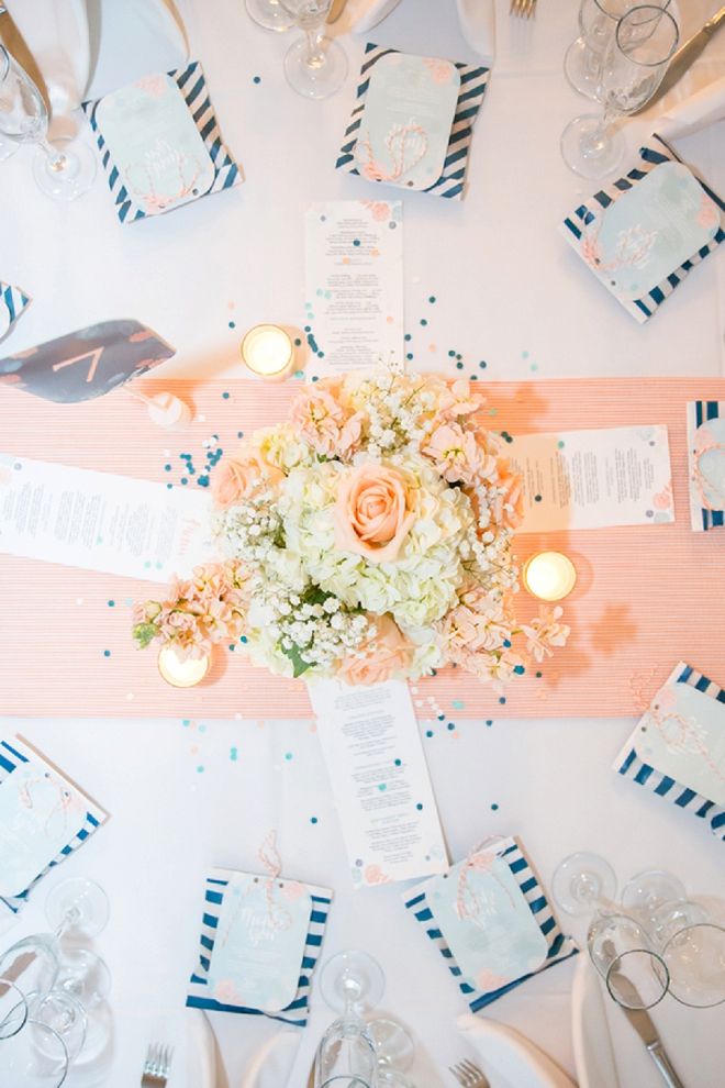 What a stunning light and airy reception table! We love this spring wedding style!