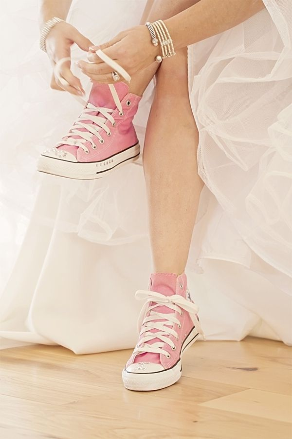 Want to rock pink at your wedding? Rock these darling pink Chuck Taylor shoes!