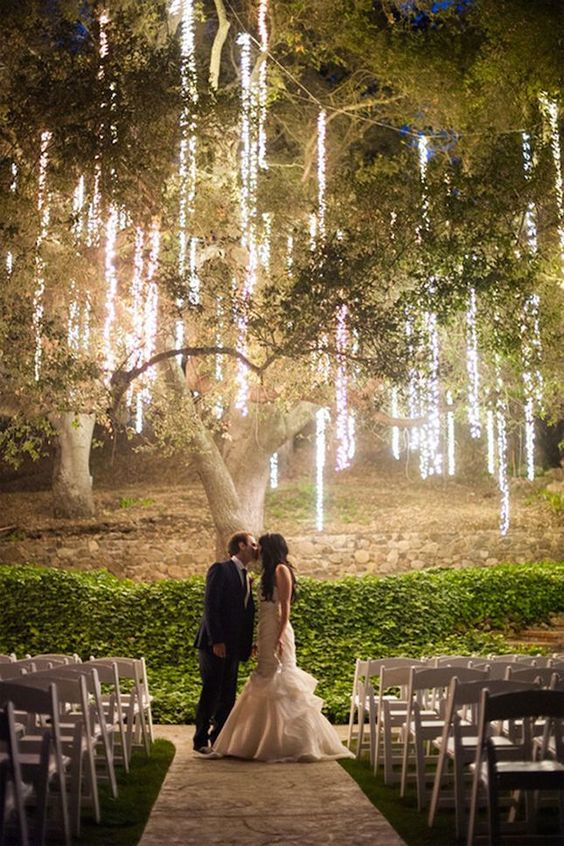 These twinkle lights are so romantic! Love this idea for a spring wedding.