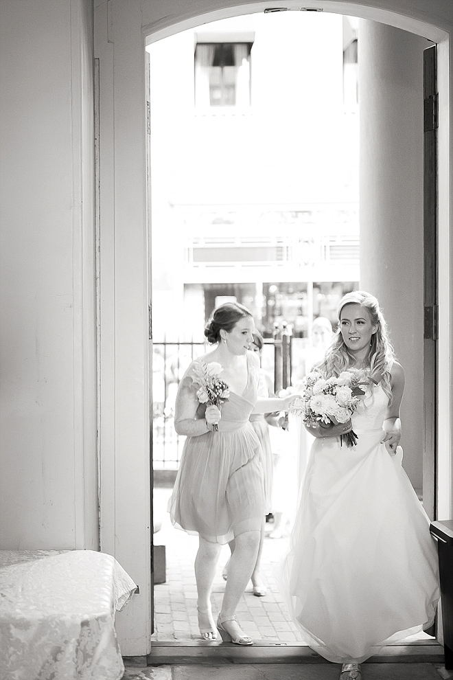 We love this sweet snap of the Bride heading to say I Do!