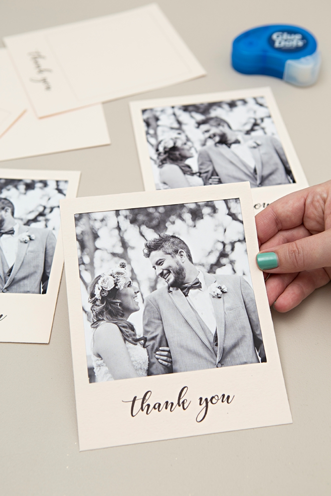 Learn how to print and create your own polaroid style thank you cards!